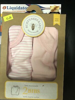 Burt's Bees Baby Girl 2 Pack Bib Set  ~ Pink & White ~ Organic Cotton ~Bee Print