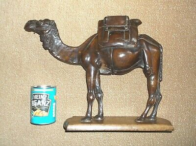 Rare Antique 19Th Century Large Treen Hard Wood Finely Carved Camel On Oak Base