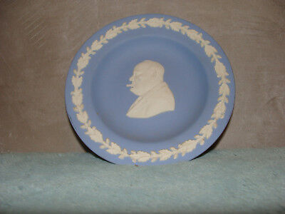 "WEDGWOOD Jasperware Blue WINSTON CHURCHILL W/Cigar Round Trinket Dish 4.25""dia."