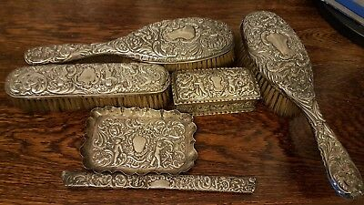 Vintage sterling silver Antique Hair brush set with silver box