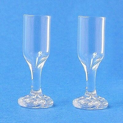 Dolls House Miniature:  Set of 2 Wine Glasses :  in 12th scale