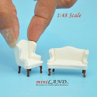 "1:48 1/4"" quarter scale Queen Anne Leather Sofa /wing chair set White Dollhouse"