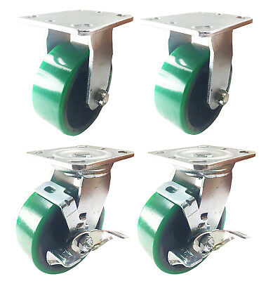 "4 Heavy Duty Caster Set 4"" 5"" 6"" Polyurethane on Cast Iron Wheels No Mark Green"