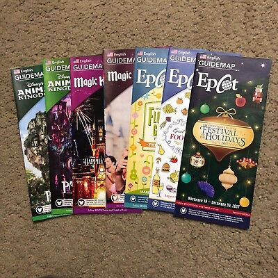 NEW 2017 Walt Disney World Theme Park Guide Maps - Set of 7 Maps