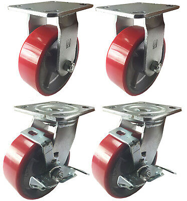 "4 Heavy Duty Caster Set 4"" 5"" 6"" Polyurethane on Cast Iron Wheels No Mark Red"
