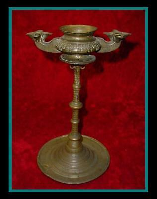 Old ANTIQUE Engraved ROMAN Indo Persian BRONZE OIL LAMP with 10 Fonts with STAND