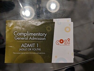 Two COSI tickets for $30 total