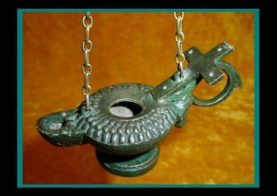 Nice ANTIQUE BRONZE ROMAN BYZANTINE HANGING OIL LAMP on Pedestal Base with CROSS
