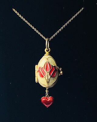 Faberge Enamel Egg Pendant Secret Love Heart Gold Color 925 Silver Necklace