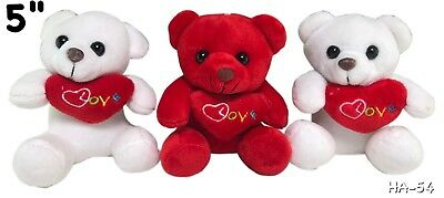 """Valentine's Day Teddy Bear 5"""" Tall 2 Withe And 1 Red New Lot of 3"""