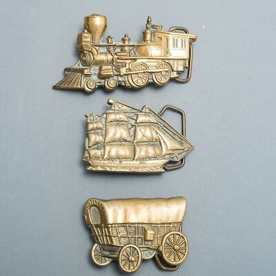 Lot of 3 Vintage 1970's Baron Brass Belt Buckles Train, Ship & Covered Wagon