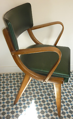 Vintage Retro 1950s 60s 70s Pair Carver Ben Chairs Green Wood Stoe