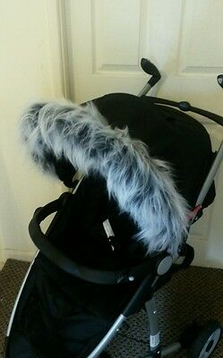 Pushchair grey faux fur Hood Trim, fits any hood, Quinny Cosatto Egg My babiie