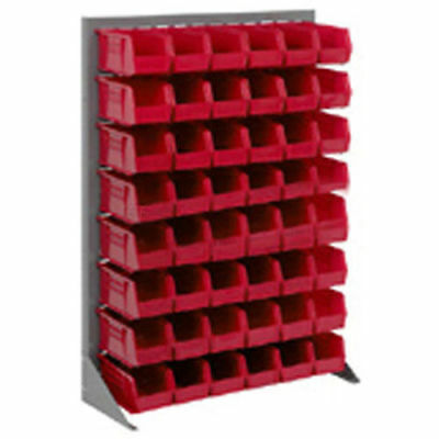 """Louvered Bin Rack With (24) Red Stacking Bins, 35""""W x 15""""D x 50""""H, Lot of 1"""
