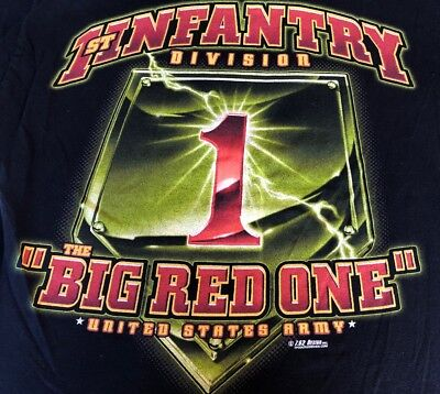 "1st INFANTRY DIVISION USA ARMY ""The Big Red One"" Black T-Shirt MED 7.62 Design"