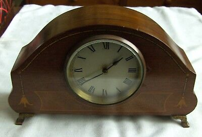 Art Deco French Inlaid Mahogany Platform Mantle Clock Height 15 cm x 25 cm