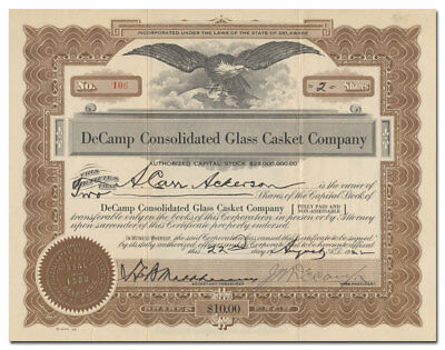 DeCamp Consolidated Glass Casket Company (Very Rare!)