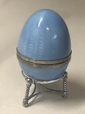 Faberge Victor Mayer Paris enamel guilloche silver egg on stand