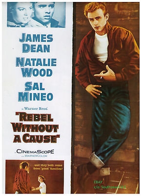 """1955 James Dean """"Rebel Without A Cause"""" Vintage Movie  Print Advertisement"""