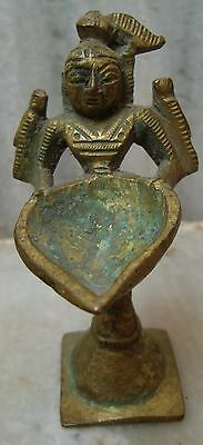 An Old Antique Vintage Brass Metal Standing Deep Laxmi Statue/figurine India Art