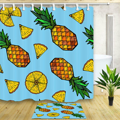 Pineapple And Crown Shower Curtain Bathroom Decor Fabric 12hooks 71 71inches Shower Curtains