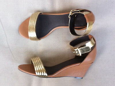 Stylish Witchery Tan/gold Leather Ankle Strap Wedges Size: 38 Near New