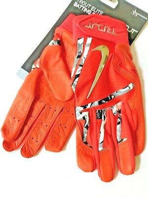 NIKE MVP Trout Elite Baseball Batting Gloves Orange Camo Chrome NEW Youth Large