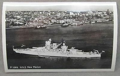 U.S.S. NEW MEXICO P-1002 WWII real photo postcard U.S. Navy ship.  mint unused