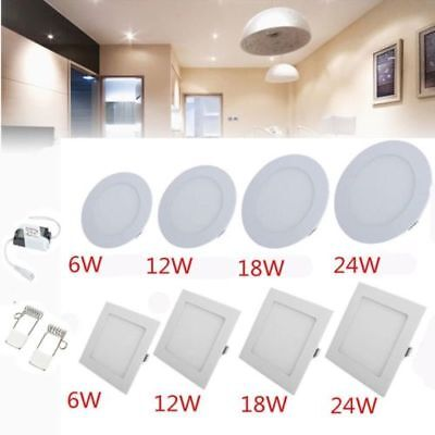 LED Panel Light Recessed Ceiling Down Light Round & Square Downlight Wall Lamp