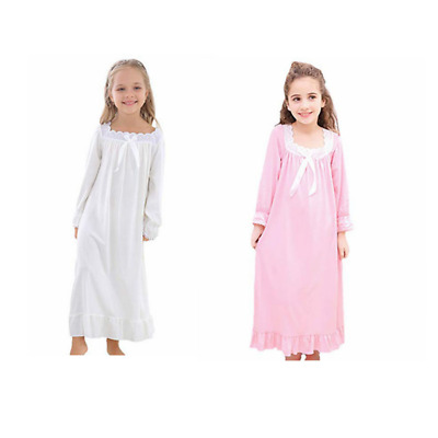 Girls Long Sleeve Nightdress Pajamas Cotton Loose Comfort Sleep Shirts Home Wear