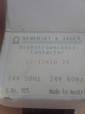 2 -BENEDIKT AND JAGER K2-12A10 24 CONTACTOR - 24V Coil NEW IN FACTORY BOX