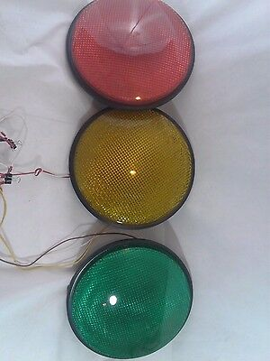 """12"""" LED Traffic Stop Light Signal Set of 3 Red Yellow & Green Gaskets 120V"""