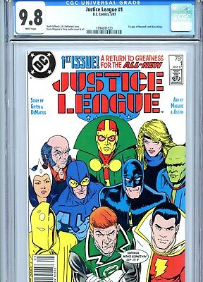 Justice League #1 CGC 9.8 White Pages 1st Max Lord DC Comics 1987