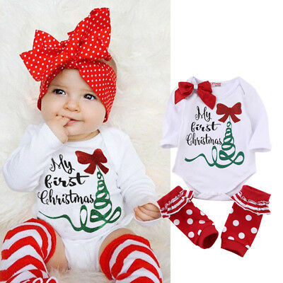 US Baby Girls My First Christmas Outfits Babygrows Romper Dots Leg Warmers Set