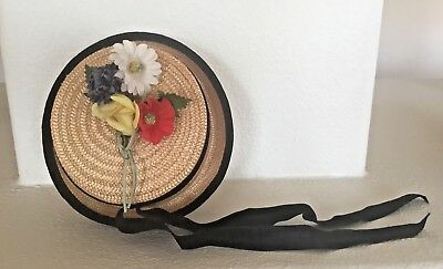 Margaret O'Brien Vintage Child's Straw Hat With Ribbon-M.G.M by Cinderella NY