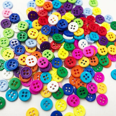 100pcs New 8mm 4 holes Plastic Button / Sewing lots Mix - Free Shipping PT86