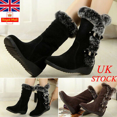 Uk Ladies Winter Womens Boots Mid Calf Fur Warm Flat Snow Shoes Size Casual