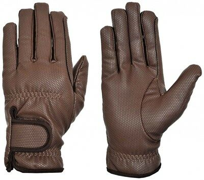 (Small, Brown) - Riders Trend Embossed Synthetic PU Riding Gloves with