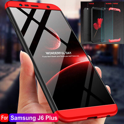 For Samsung Galaxy J6 J4 Plus Hybrid 360° Protective Case + Tempered Glass Cover