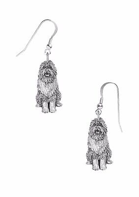 Codeppd14 Bearded Collie dog on hook Earrings sterling silver 925 stamped