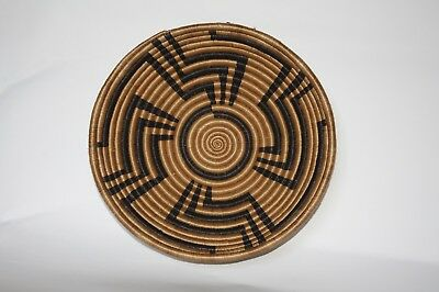 African baskets, African Basket, Rwanda Woven Basket. Black and Tan Wall baskets