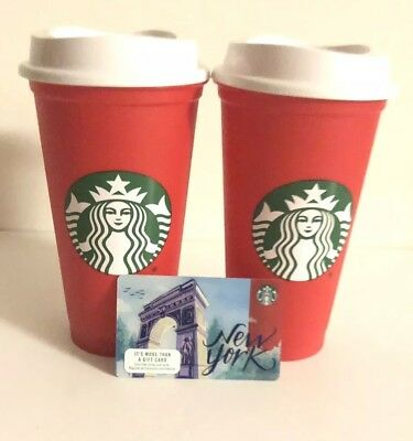 Starbucks Red Reusable Cups & New York Card Limited Edition Holidays 2018 NEW