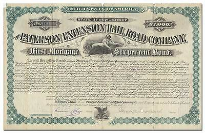 Paterson Extension Rail Road Co Bond Signed by U S Vice President Garret Hobart