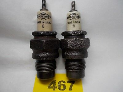 "Vintage SPLITDORF # 8 SET OF TWO Spark Plug Threads 22 mm Hex 1-1/8"" (467)"