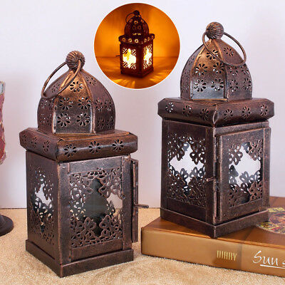 1 or 2x Antique look Moroccan Metal Lantern. Hanging Home, Garden Candle Holders