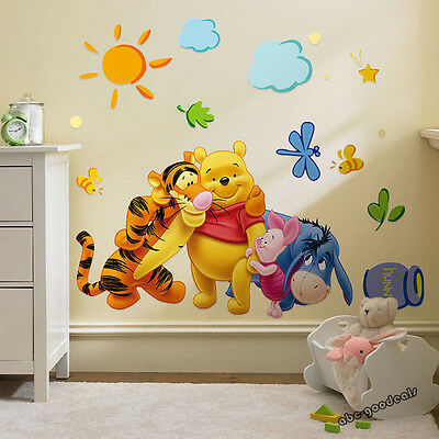 3Pc Winnie the Pooh Nursery Room Wall Decal Decor Sticker Kids Baby Bedroom HOT