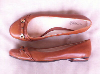 Diana F Supersoft Brown Leather Ballet Flats Size: 10.5C Near New