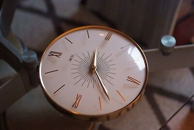 Retro, Mid Century Smith Quartz Wall Clock, Made in England, Gold, Vintage, Mint