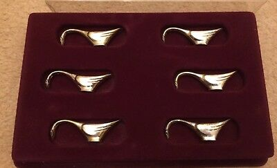 Fun Boxed Set 6 French Cutlery Silver Chrome Plated Metal Knife Rests Geese Duck