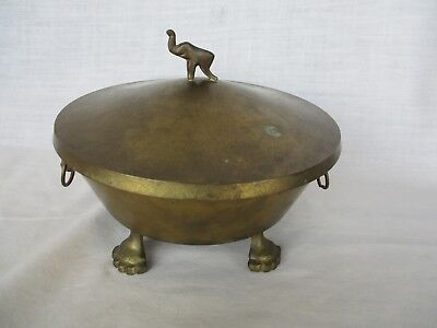 Footed & Elephant Handle Brass finish Compote Bowl & Cover Dish Vintage Antique